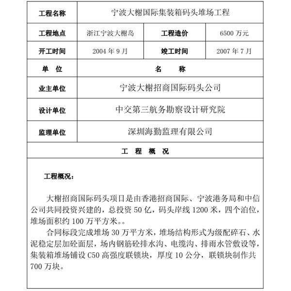 宁波大榭国际集装箱码头堆场工程
